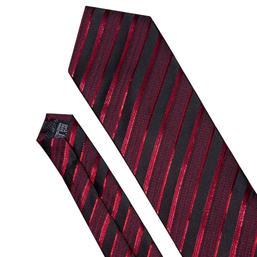 Male Luxury Neck Tie For Men Business Red Striped 100% Silk Tie Set