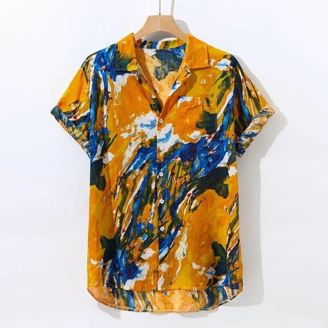 Print Brand Summer Hot Sell Men's Beach Shirt Fashion Short Sleeve Floral Loose Casual Shirts Plus Asian SIZE loose Hawaiian#G1
