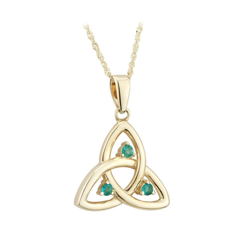 10k yellow gold emerald trinity pendant online celtic jewelry 10k yellow gold emerald trinity pendant aloadofball Image collections