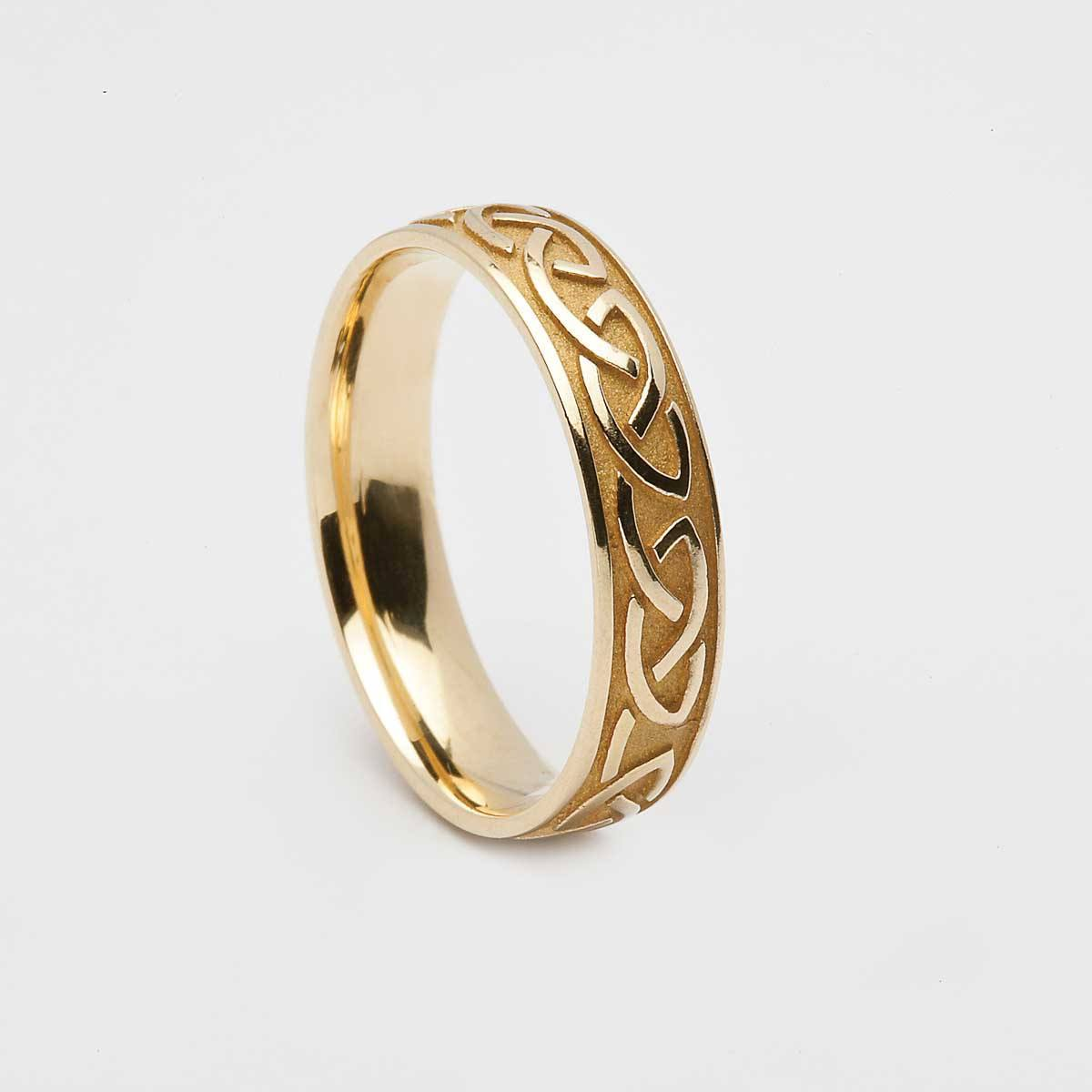 Mens Yellow Gold 14k Celtic Knot Raised Pattern Ring Online Celtic Jewelry