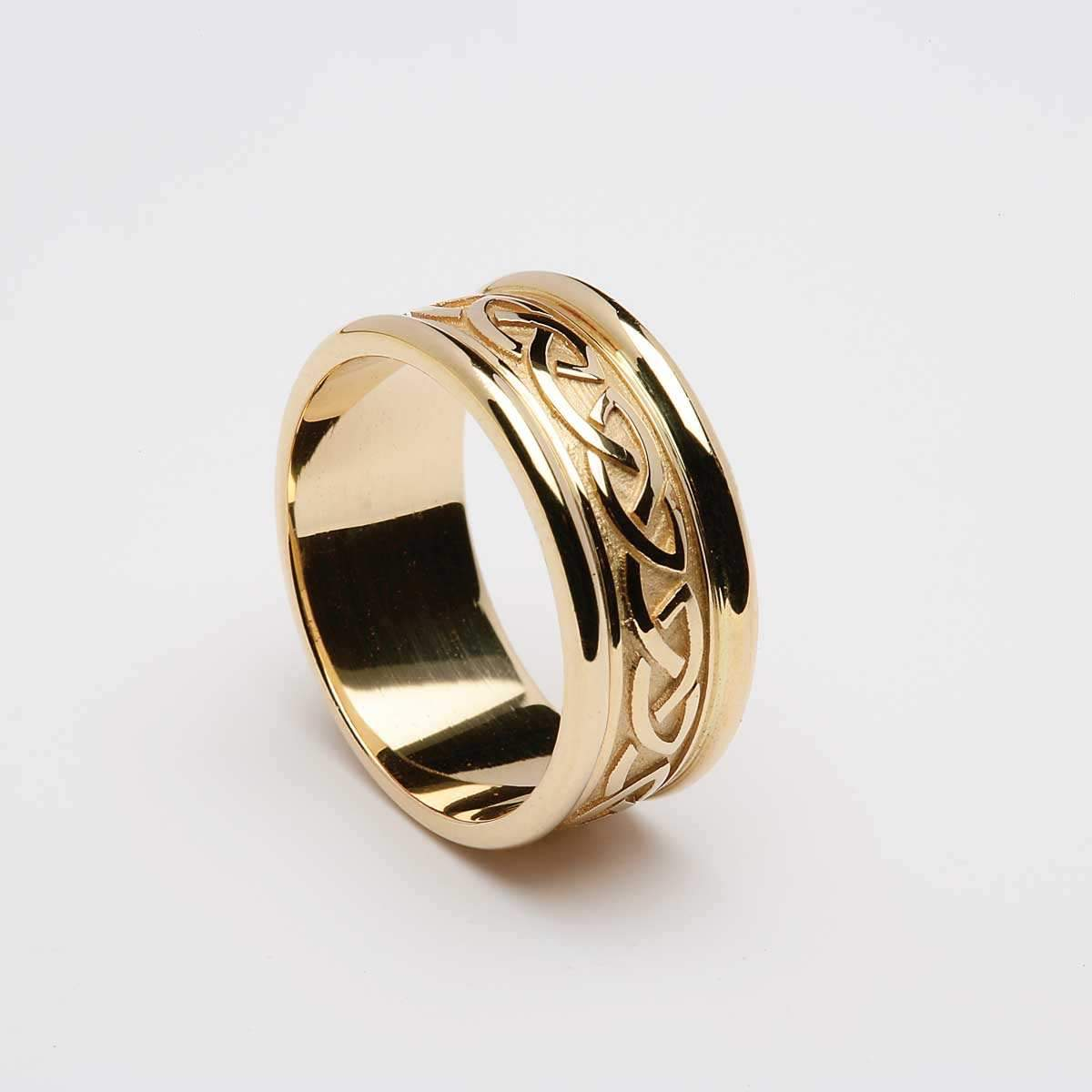 Mens Yellow Gold 14k Celtic Knot Ring With Heavy Rims Online Celtic Jewelry