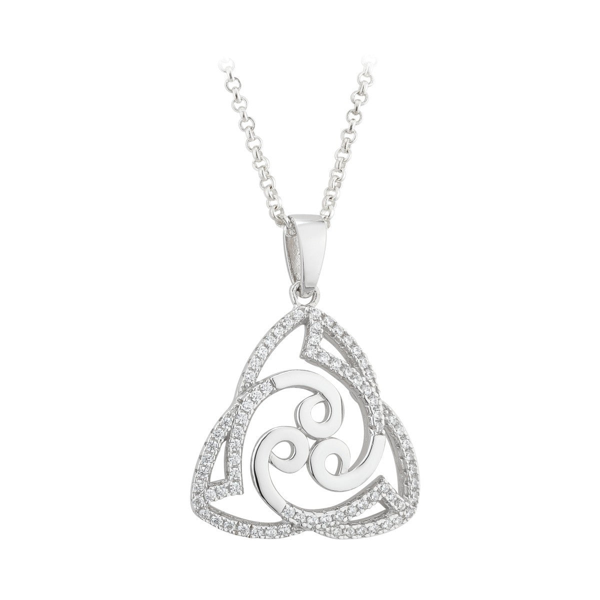 661be46a4 Sterling Silver Cubic Zirconia Celtic Trinity Knot Pendant