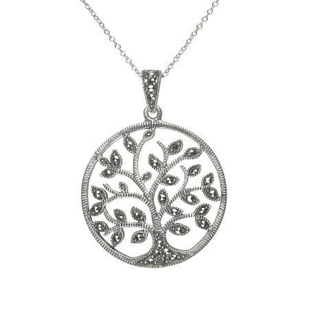 Celtic pendants online celtic jewelry sterling silver large marcasite celtic tree of life pendant mozeypictures Gallery
