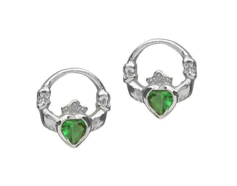 acara hallmarked earrings irish jewelry celtic green silver sterling stud claddagh