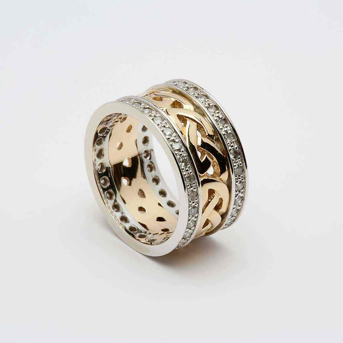 Yellow Gold 14k Celtic Knot Ring With Heavy White Gold Diamond Set Rim Online Celtic Jewelry