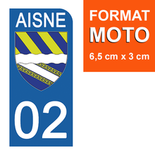 Load the image in the gallery, Stickers for license plate AUTO and MOTO - 02 AISNE