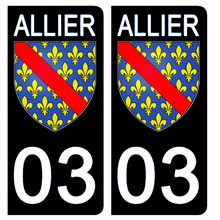 Load the image in the gallery, Stickers for license plate AUTO and MOTO - 03 ALLIER