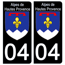 Load the image in the gallery, Stickers for CAR and MOTORCYCLE license plates - 04 ALPES DE HAUTES PROVENCE