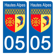 Load the image in the gallery, Stickers for CAR and MOTORCYCLE license plates - 05 HAUTES ALPES
