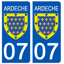 Load the image in the gallery, Stickers for AUTO and MOTO license plate - 07 ARDECHE