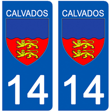 Load the image in the gallery, Stickers for license plate AUTO and MOTO - 14 CALVADOS