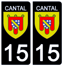 Upload the image to the gallery, Stickers for CAR and MOTORCYCLE license plates - 15 CANTAL
