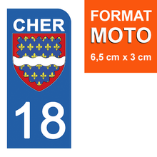 Load the image in the gallery, Stickers for license plate AUTO and MOTO - 18 CHER