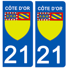 Load the image in the gallery, Stickers for license plate AUTO and MOTO - 21 COTE D'OR