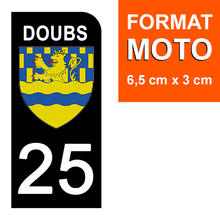 Load the image in the gallery, Stickers for license plate AUTO and MOTO - 25 DOUBS