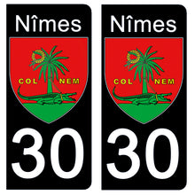 Load the image in the gallery, Stickers for license plate AUTO and MOTO - 30 NIMES GARD