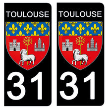 Load the image in the gallery, Stickers for CAR and MOTORCYCLE license plates - 31 TOULOUSE HAUTE GARONNE