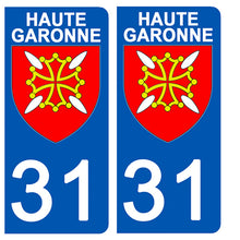 Load the image in the gallery, Stickers for CAR and MOTORCYCLE license plates - 31 HAUTE GARONNE