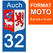Load the image in the gallery, Stickers for license plate AUTO and MOTO - 32 GERS AUCH