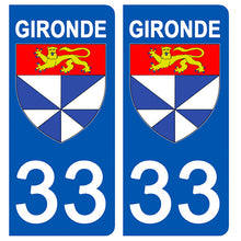 Load the image in the gallery, Stickers for license plate AUTO and MOTO - 33 GIRONDE