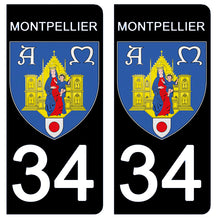 Load the image in the gallery, Stickers for AUTO and MOTO license plate - 34 HERAULT MONTPELLIER