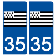 Upload image to gallery, Stickers for CAR and MOTORCYCLE license plates - 35 ILLE ET VILAINE, Gwen-ha-Du