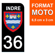 Load the image in the gallery, Stickers for license plate AUTO and MOTO - 36 INDRE