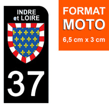 Load the image in the gallery, Stickers for CAR and MOTORCYCLE license plates - 37 INDRE et LOIRE
