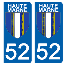 Upload the image to the gallery, Stickers for AUTO and MOTORCYCLE license plates - 52 HAUTE MARNE