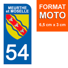 Load the image in the gallery, Stickers for CAR and MOTORCYCLE license plates - 54 MEURTHE and MOSELLE