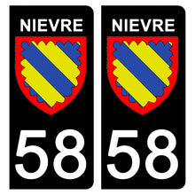 Upload the image to the gallery, Stickers for CAR and MOTORCYCLE license plates - 58 NIEVRE