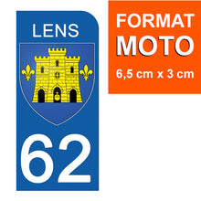 Upload the image to the gallery, Stickers for CAR and MOTORCYCLE license plates - 62 PAS DE CALAIS, LENS