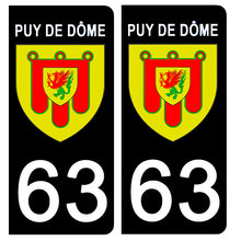 Load the image in the gallery, Stickers for CAR and MOTORCYCLE license plates - 63 PUY DE DÔME