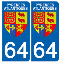 Load the image in the gallery, Stickers for CAR and MOTORCYCLE license plates - 64 PYRENNEES ATLANTIQUES