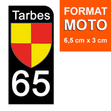 Load the image in the gallery, Stickers for CAR and MOTORCYCLE license plates - 65 HAUTES PYRENNEES, TARBES
