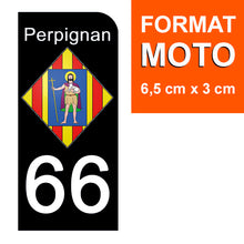 Load the image in the gallery, Stickers for CAR and MOTORCYCLE license plates - 66 PYRENNEES ORIENTALES, PERPIGNAN