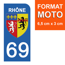Load the image in the gallery, Stickers for license plate AUTO and MOTO - 69 RHONE