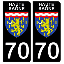 Load the image in the gallery, Stickers for CAR and MOTORCYCLE license plates - 70 HAUTE SAÔNE