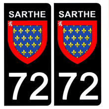 Load the image in the gallery, Stickers for AUTO and MOTO license plate - 72 SARTHE