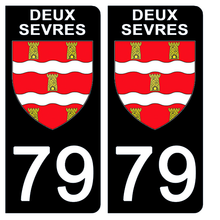 Upload the image to the gallery, Stickers for CAR and MOTORCYCLE license plates - 79 DEUX SEVRES