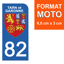 Load the image in the gallery, Stickers for AUTO and MOTO license plate - 82 TARN et GARONNE