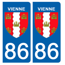 Upload the image to the gallery, Stickers for CAR and MOTORCYCLE license plates - 86 VIENNE