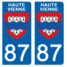 Upload the image to the gallery, Stickers for CAR and MOTORCYCLE license plates - 87 HAUTE VIENNE