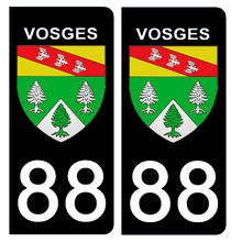 Upload the image to the gallery, Stickers for AUTO and MOTORCYCLE license plates - 88 VOSGES