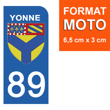 Load the image in the gallery, Stickers for license plate AUTO and MOTO - 89 YONNE