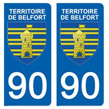 Load the image in the gallery, Stickers for CAR and MOTORCYCLE license plates - 90 TERRITOIRE DE BELFORT