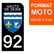 Upload the image to the gallery, Stickers for CAR and MOTORCYCLE license plates - 92 HAUTS DE SEINE