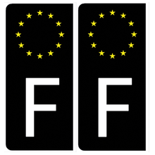 Upload the image to the gallery, 2 Stickers for AUTO EUROBAND license plate - BLACK background