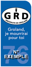 """Upload image to gallery, MOTORCYCLE license plate sticker, BLUE background, Department number - Presipality of Groland """"Groland, I will die for you. """""""