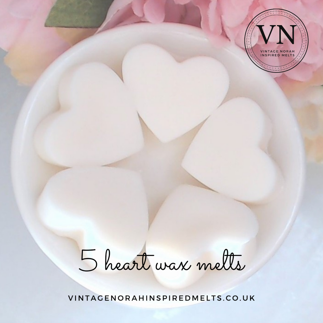 Rhubarb & Ginger 5 Heart Wax Melts - PLAIN